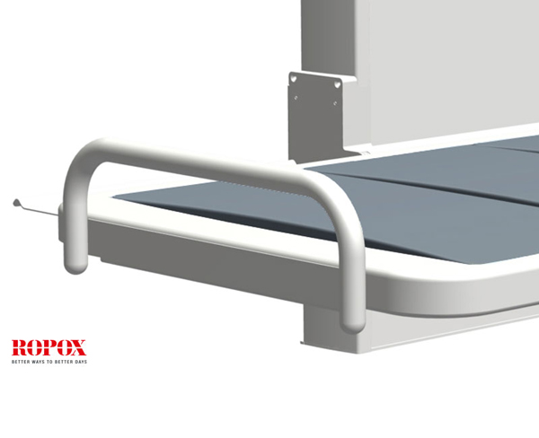 The ROPOX Height Adjustable Changing Bench can be provided with 1 or 2 end guards if required